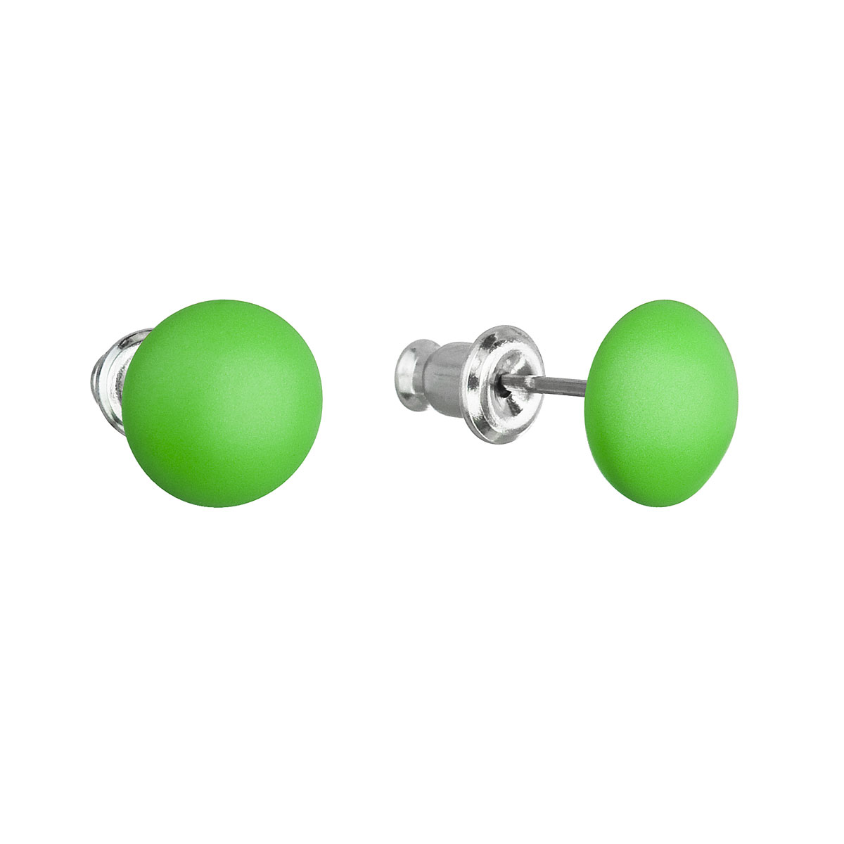Evolution Group Náušnice se Swarovski krystaly zelené kulaté 51053.3