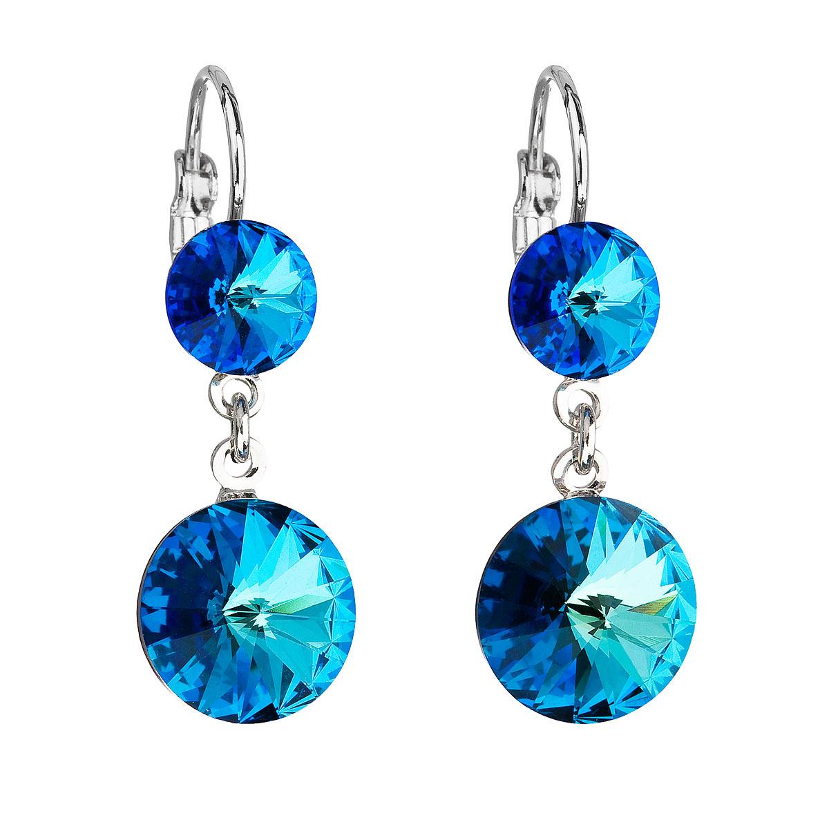 Levně Evolution Group Náušnice bižuterie se Swarovski krystaly modré kulaté 51044.5