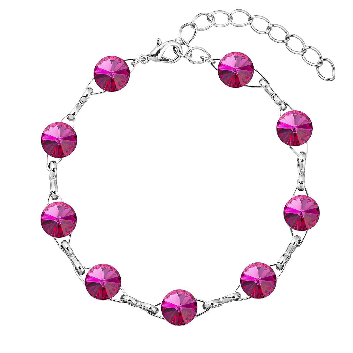 Evolution Group Náramek se Swarovski krystaly růžový 53001.3 fuchsia