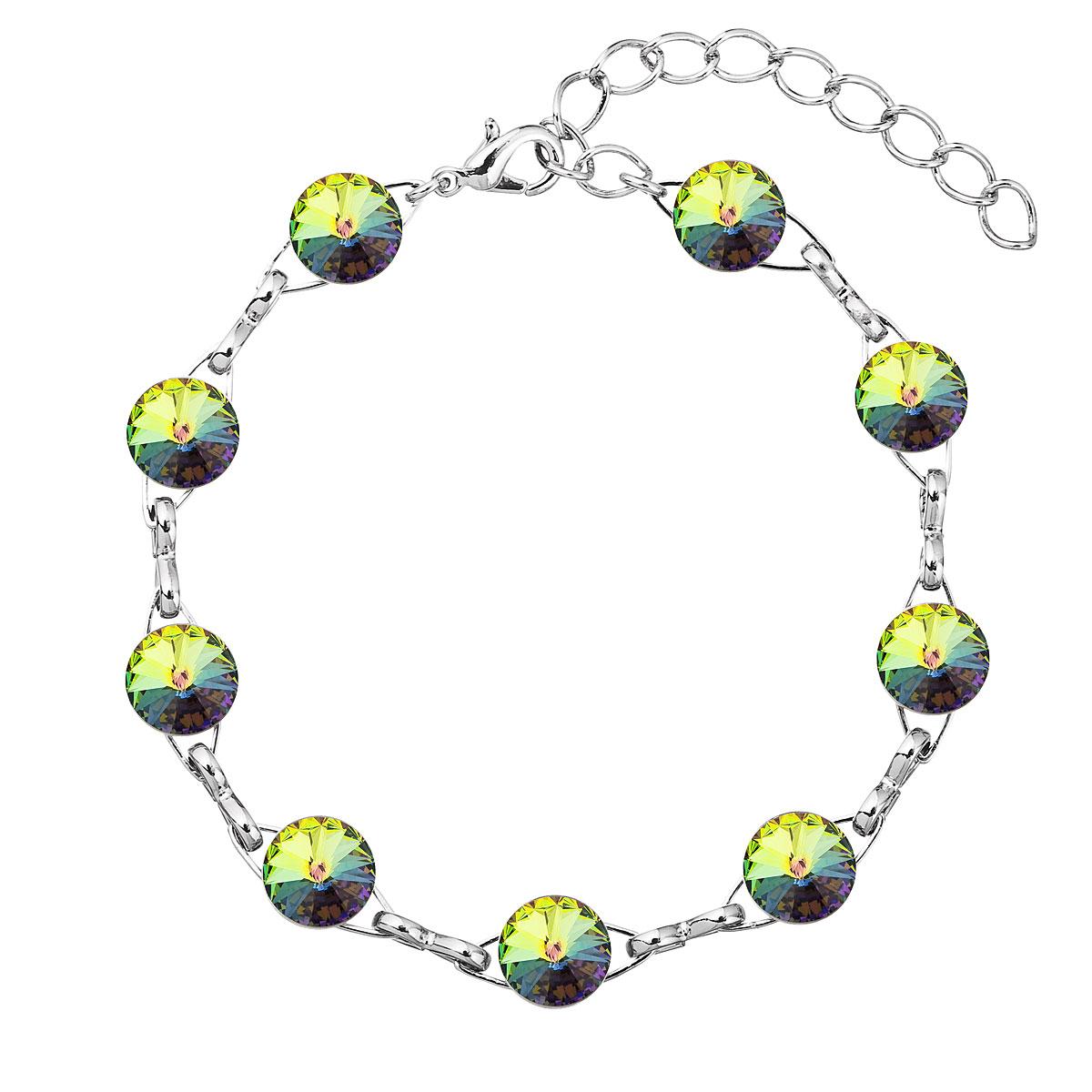 Evolution Group Náramek se Swarovski krystaly zelený 53001.5