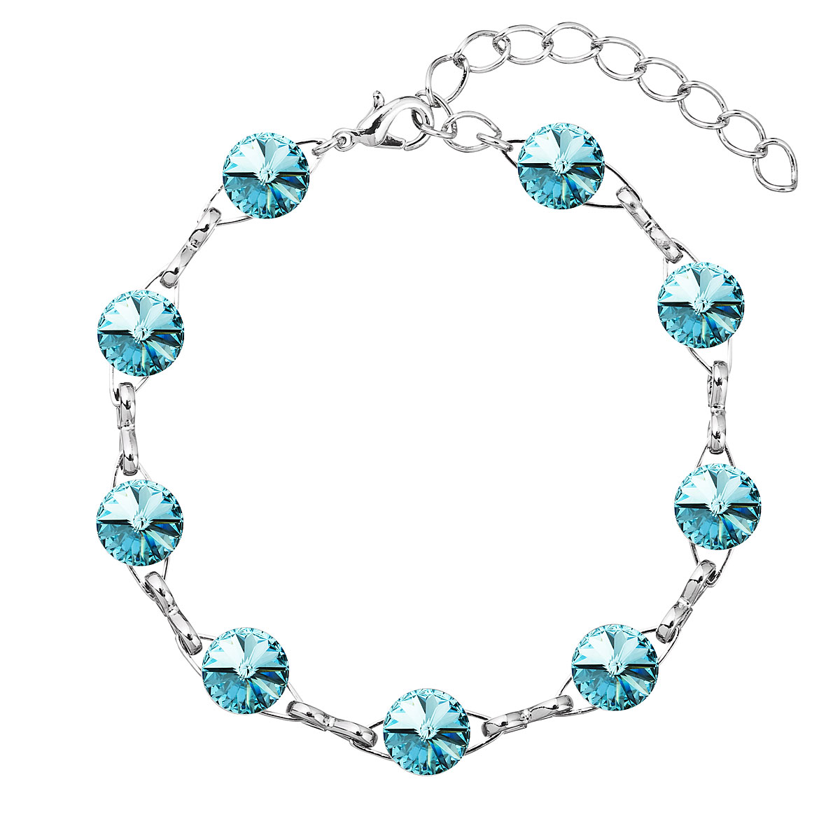 Náramek bižuterie se Swarovski krystaly modrý 53001.3 light turquoise