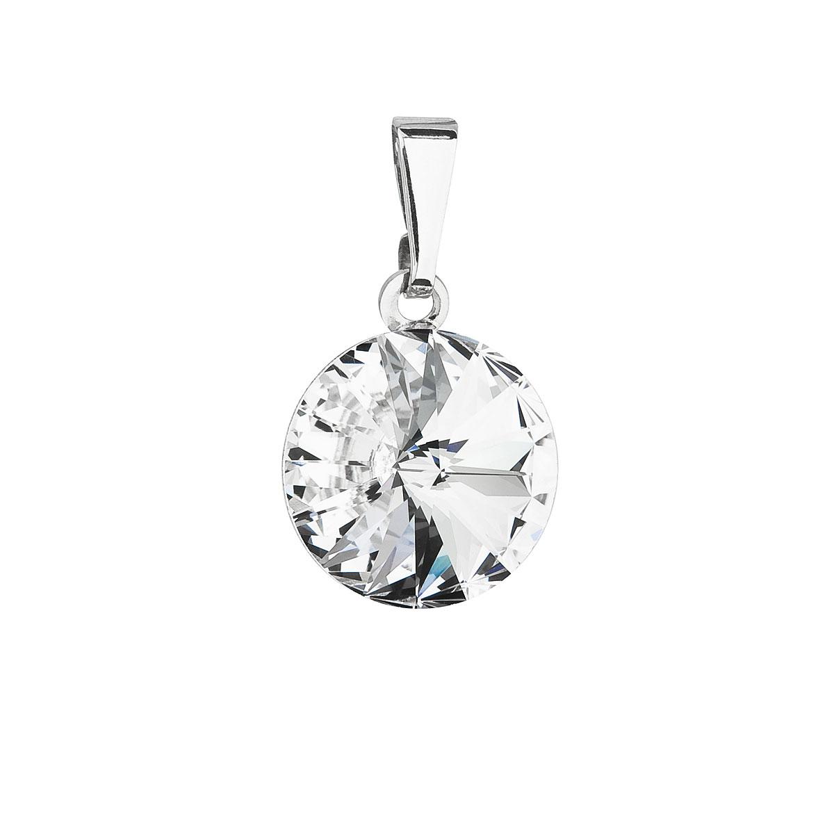 Evolution Group Přívěsek se Swarovski krystaly bílý kulatý 54001.1
