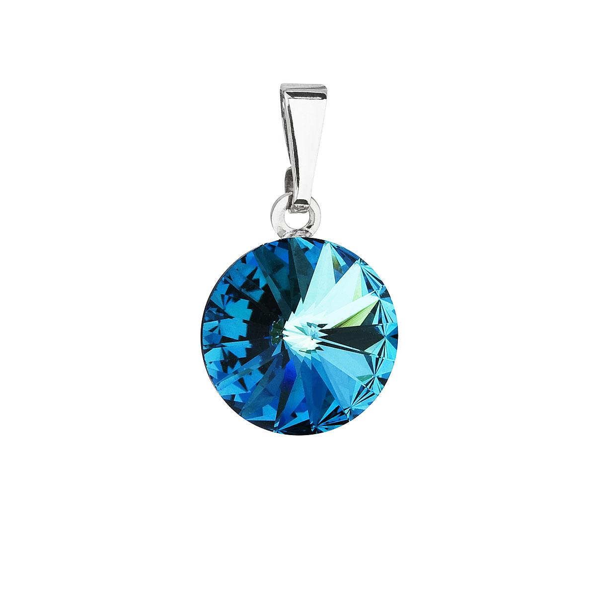 Evolution Group Přívěsek se Swarovski krystaly modrý kulatý 54001.5