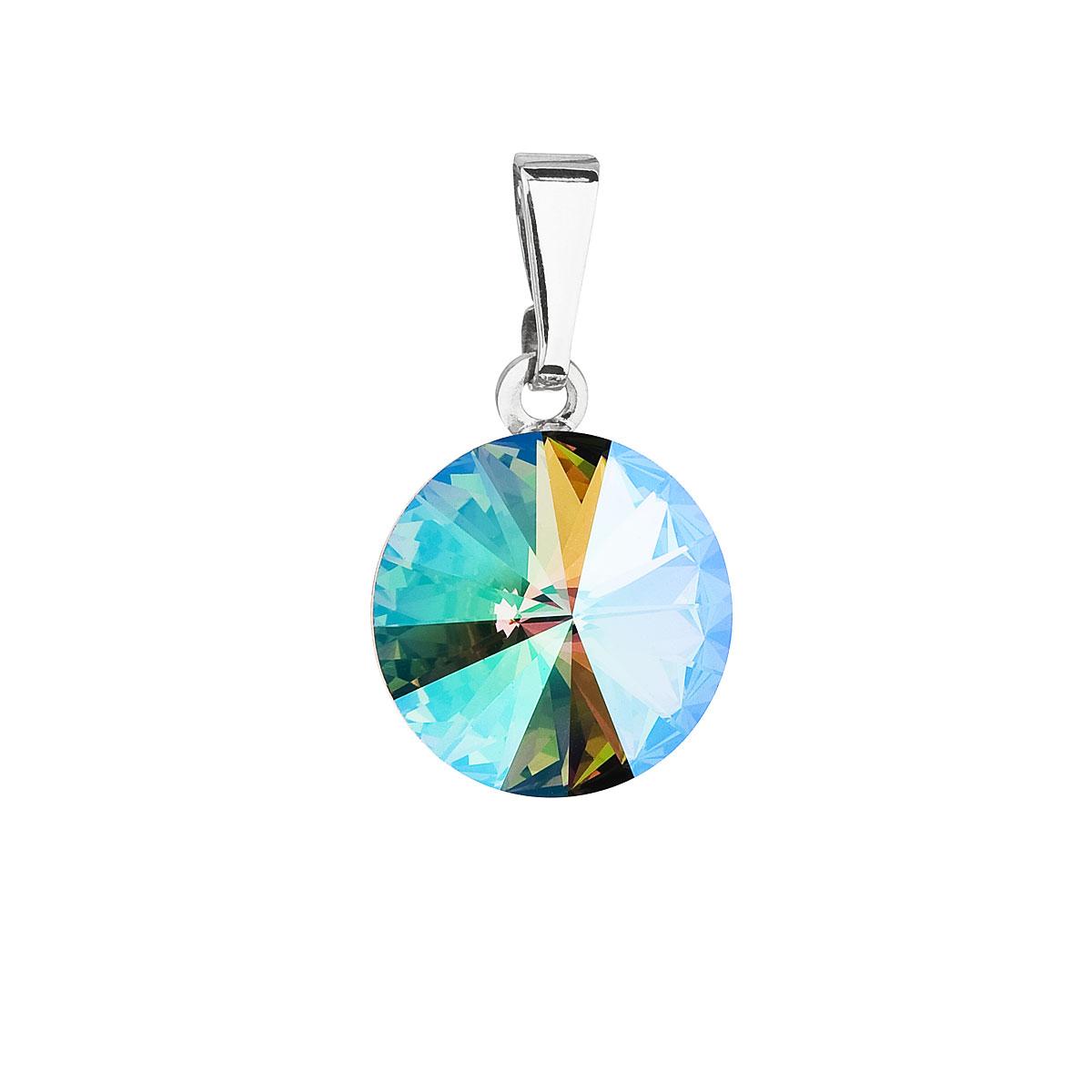 Evolution Group Přívěsek se Swarovski krystaly zelený fialový kulatý 54001.5