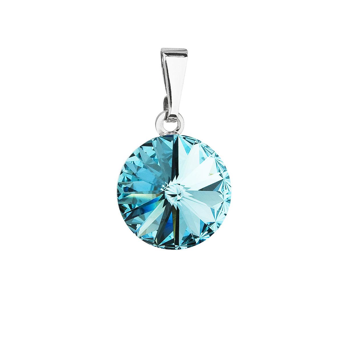 Evolution Group Přívěsek se Swarovski krystaly modrý kulatý 54001.3 light turquoise