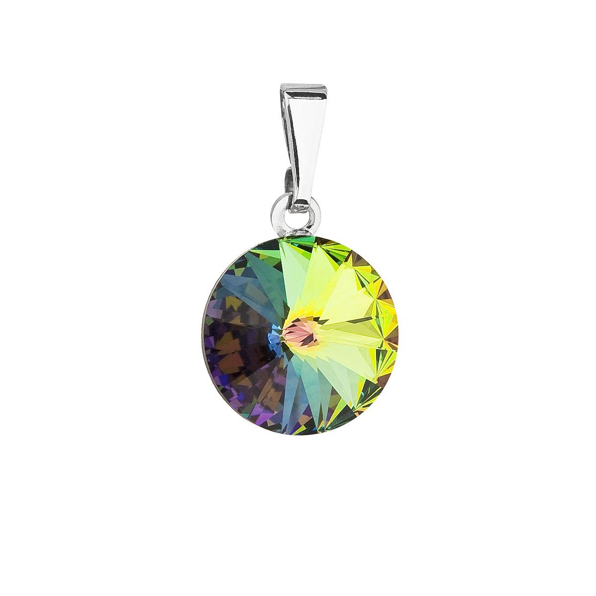 Evolution Group Přívěsek se Swarovski krystaly zelený kulatý 54001.5