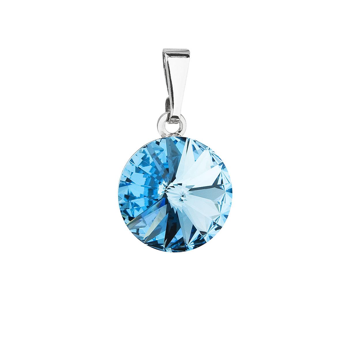 Evolution Group Přívěsek se Swarovski krystaly modrý kulatý 54001.3 aqua