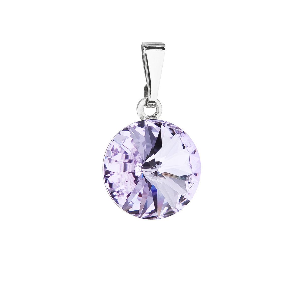 Evolution Group Přívěsek se Swarovski krystaly fialový kulatý 54001.3 violet