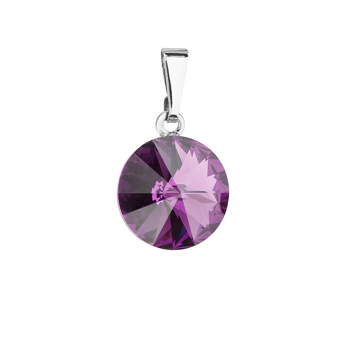 Evolution Group Přívěsek se Swarovski krystaly fialový kulatý 54001.3 amethyst