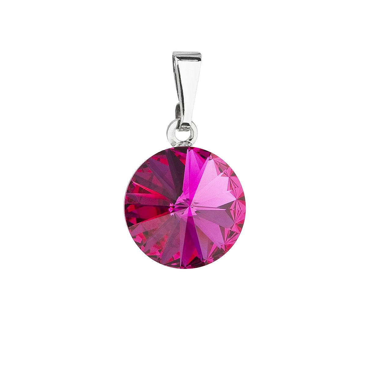 Evolution Group Přívěsek se Swarovski krystaly růžový kulatý 54001.3 fuchsia