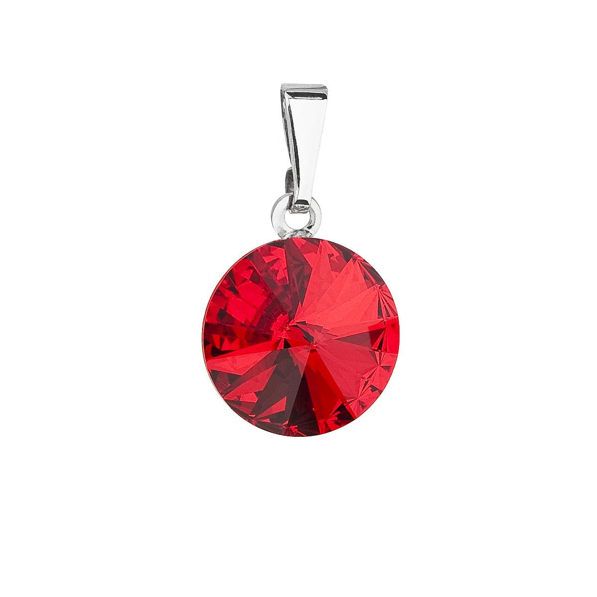 Evolution Group Přívěsek se Swarovski krystaly červený kulatý 54001.3