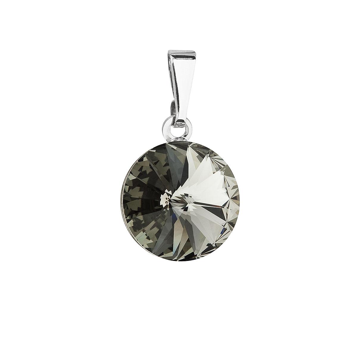 Evolution Group Přívěsek se Swarovski krystaly šedý kulatý 54001.3