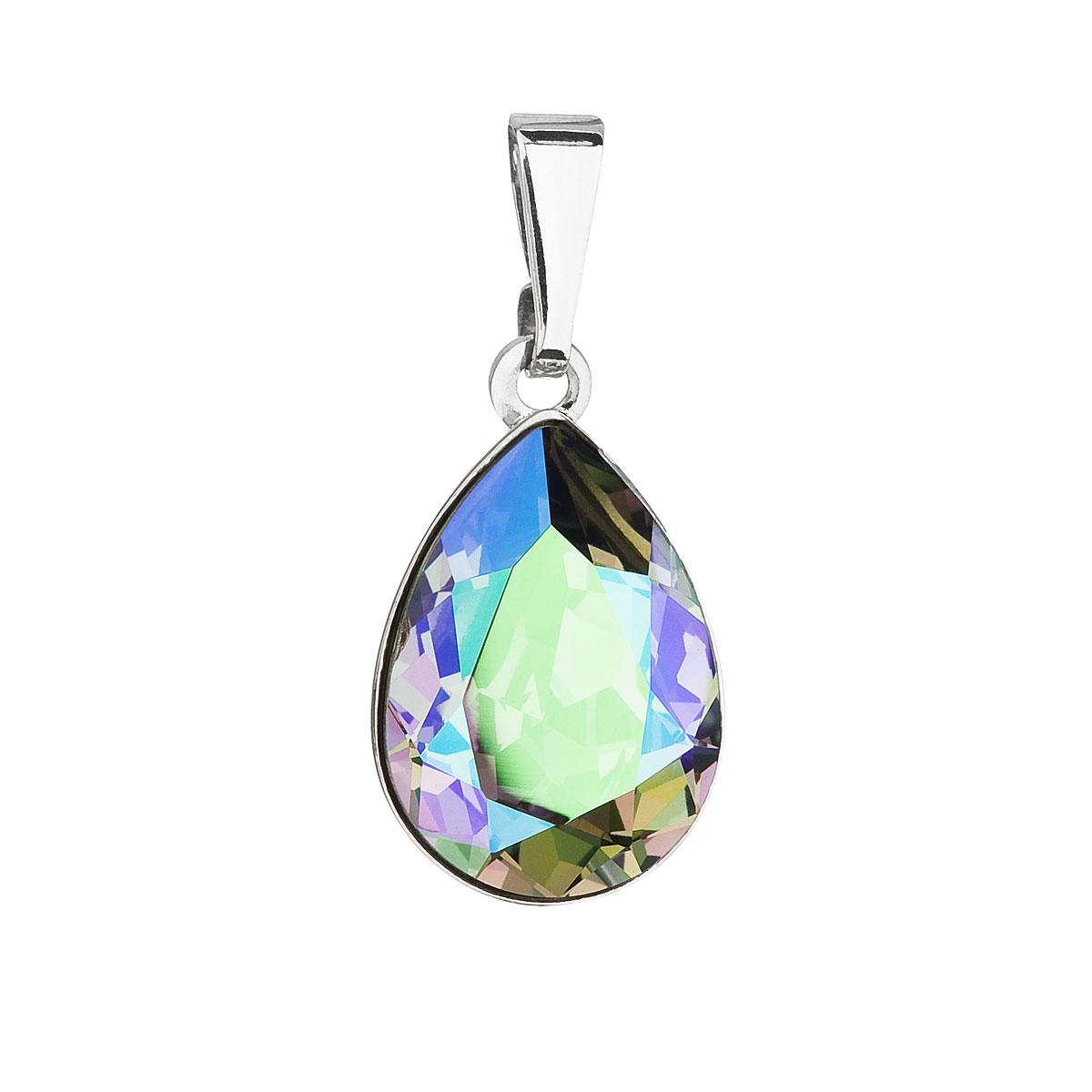 Přívěsek bižuterie se Swarovski krystaly zelená fialová slza 54016.5