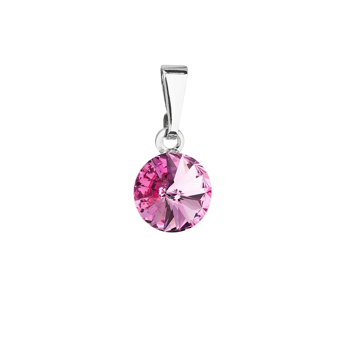 Evolution Group Přívěsek se Swarovski krystaly růžový kulatý 54018.3 rose