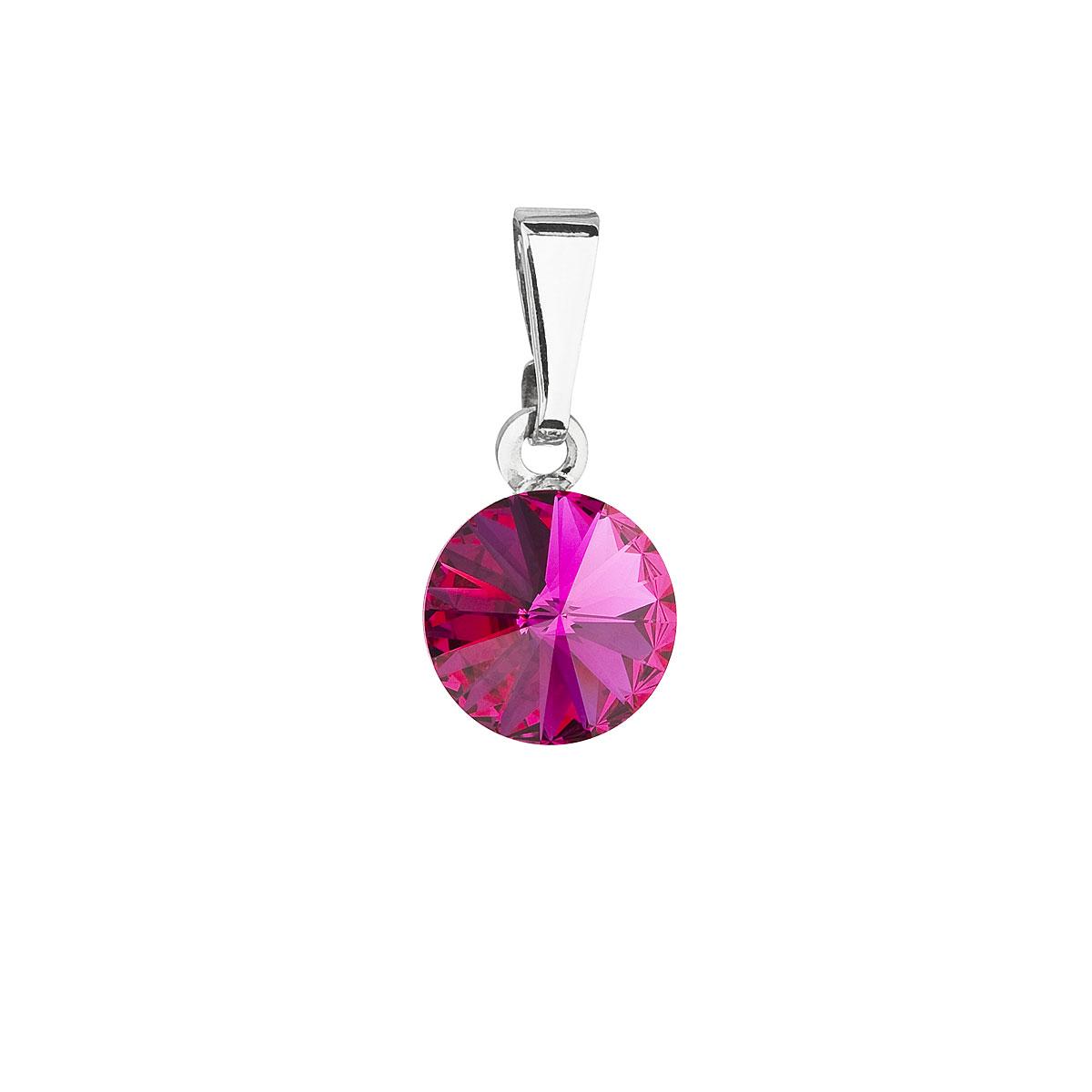 Evolution Group Přívěsek se Swarovski krystaly růžový kulatý 54018.3 fuchsia