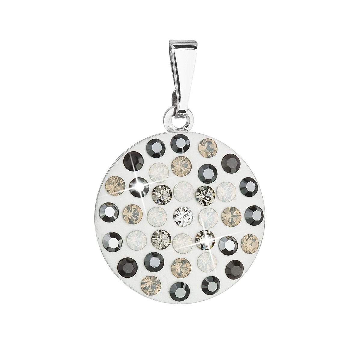 Přívěsek bižuterie se Swarovski krystaly šedý kulatý 54021.3
