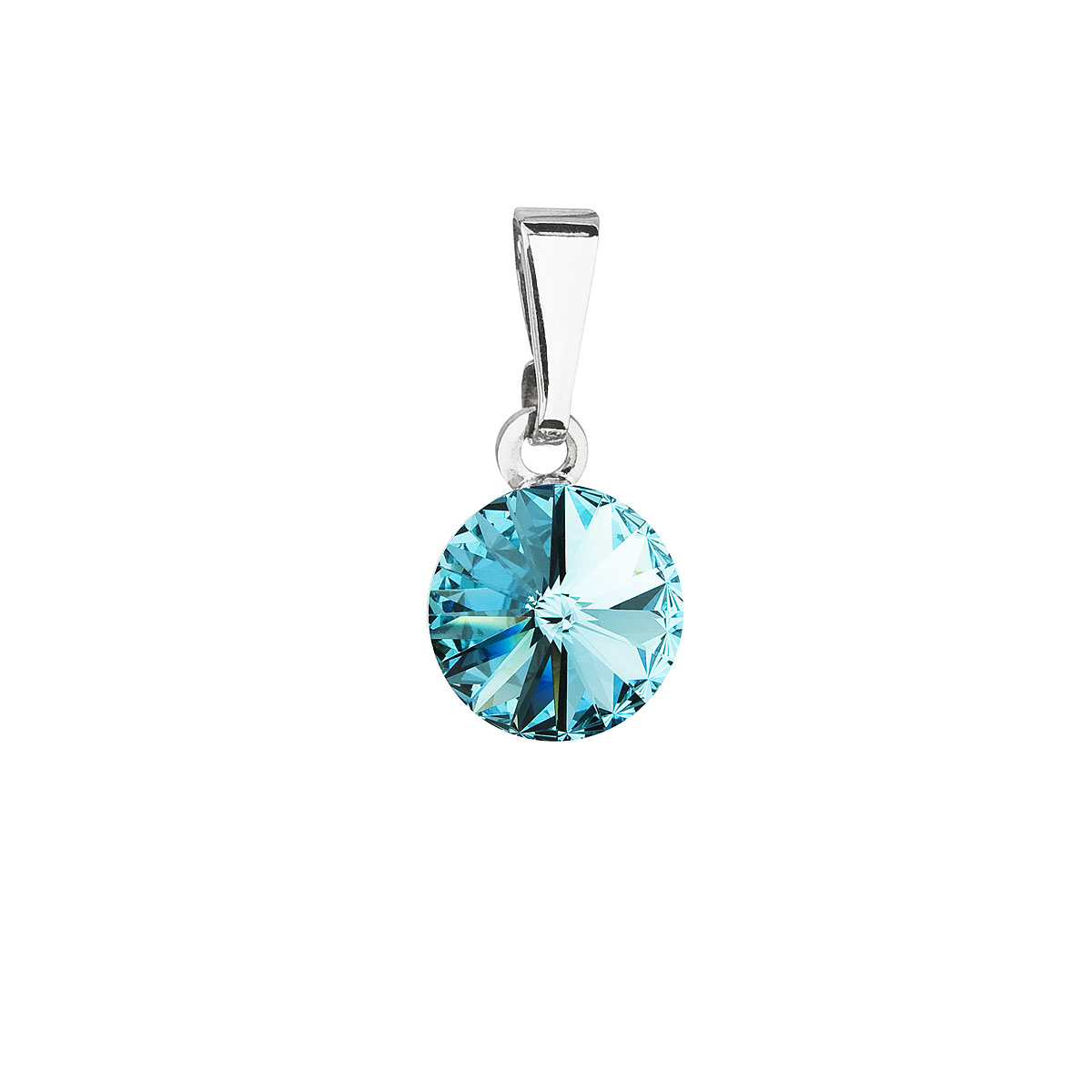 Evolution Group Přívěsek se Swarovski krystaly modrý kulatý 54018.3 turquoise
