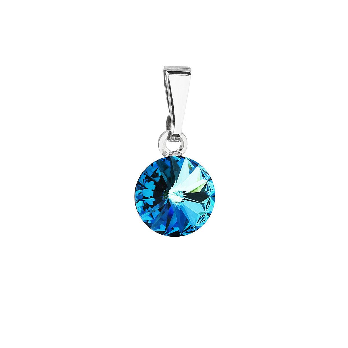 Evolution Group Přívěsek se Swarovski krystaly modrý kulatý 54018.5