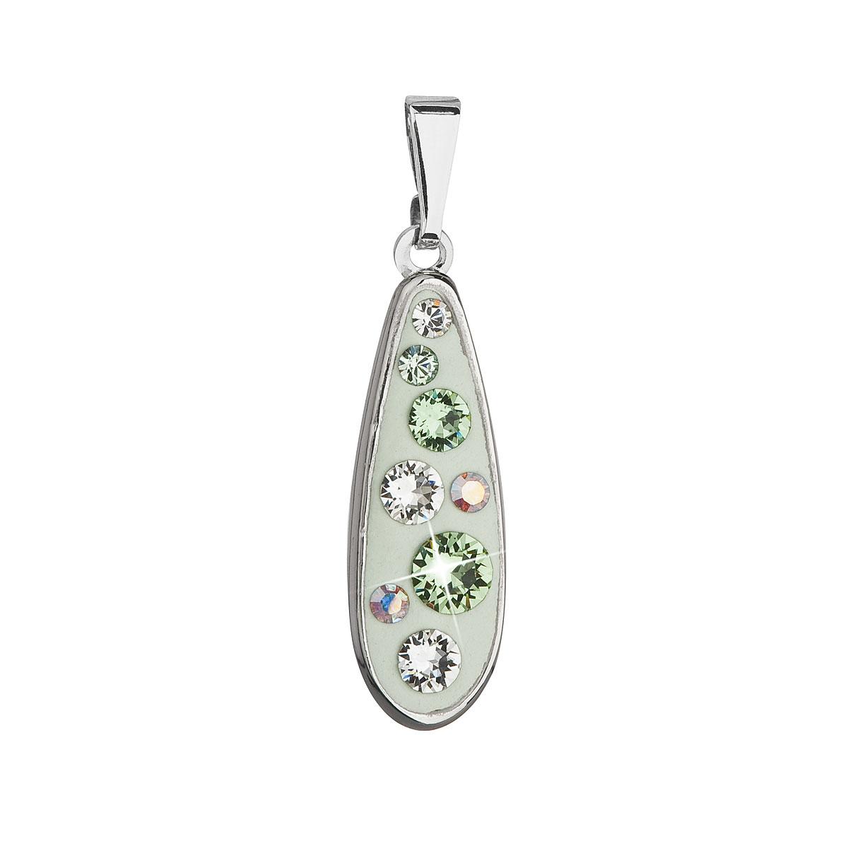 Přívěsek bižuterie se Swarovski krystaly zelená kapka 54025.3