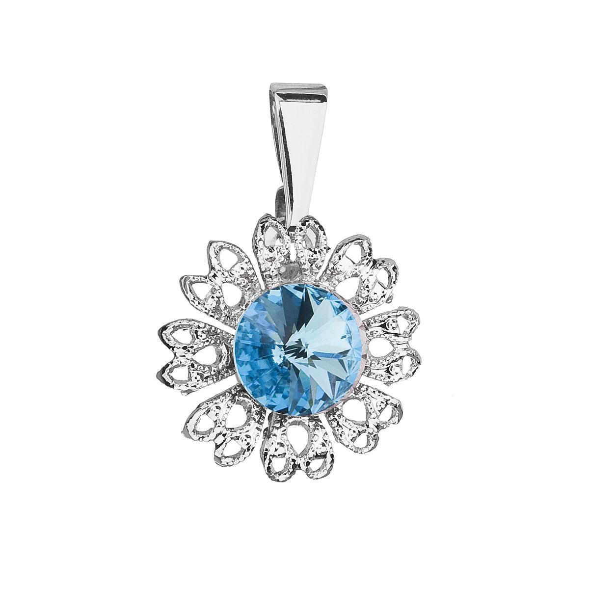 Evolution Group Přívěsek se Swarovski krystaly modrá kytička 54032.3 aqua
