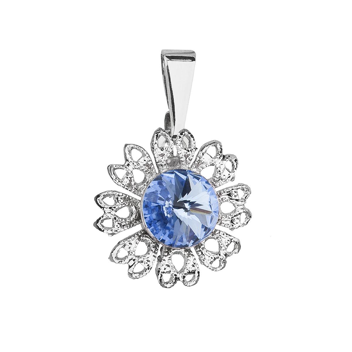 Evolution Group Přívěsek se Swarovski krystaly modrá kytička 54032.3 light sapphire
