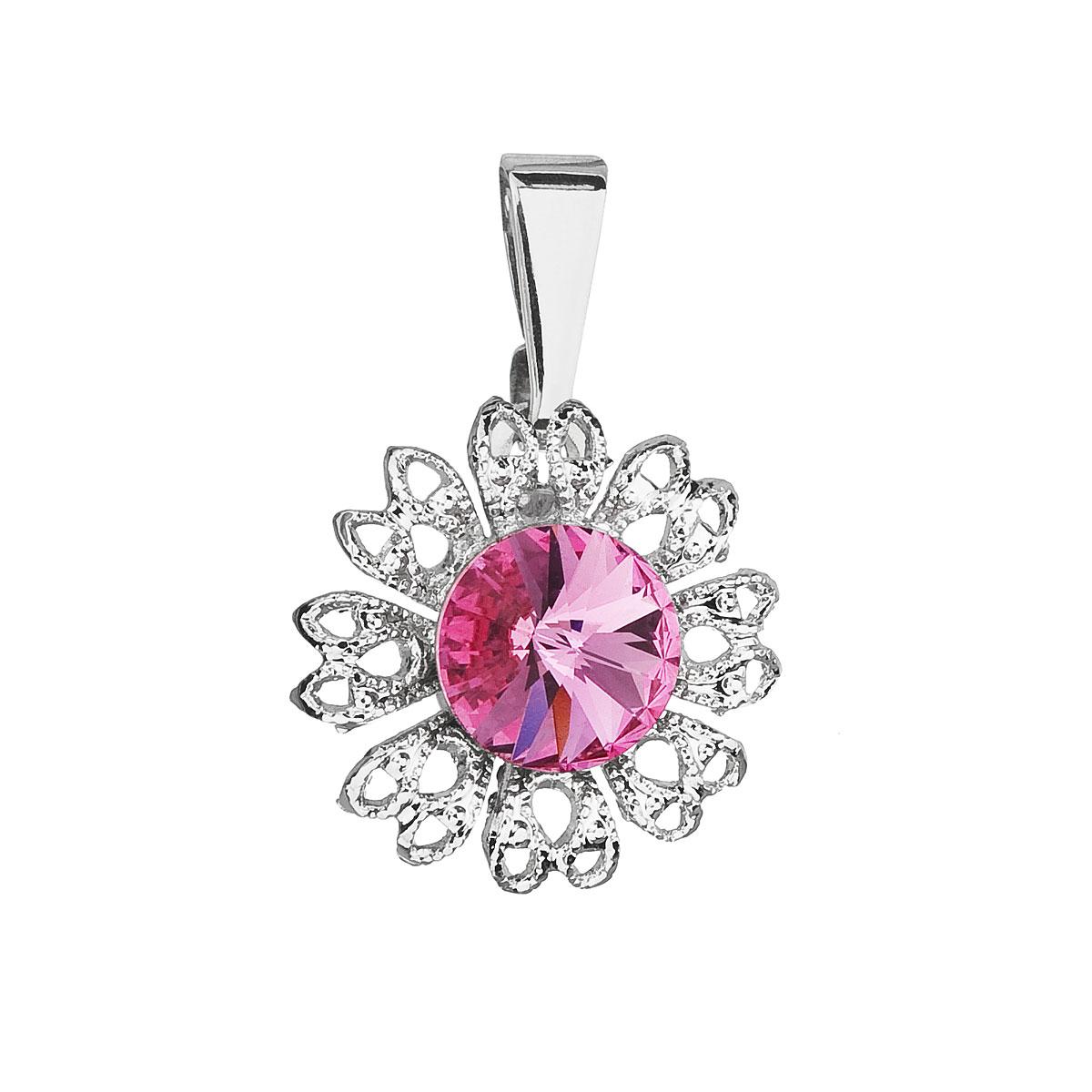 Evolution Group Přívěsek se Swarovski krystaly růžová kytička 54032.3 rose