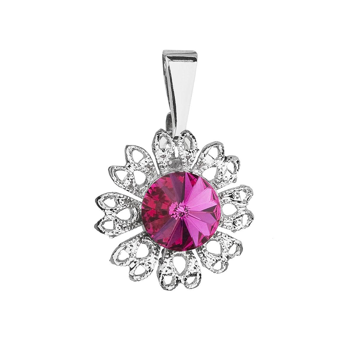 Evolution Group Přívěsek se Swarovski krystaly růžová kytička 54032.3 fuchsia