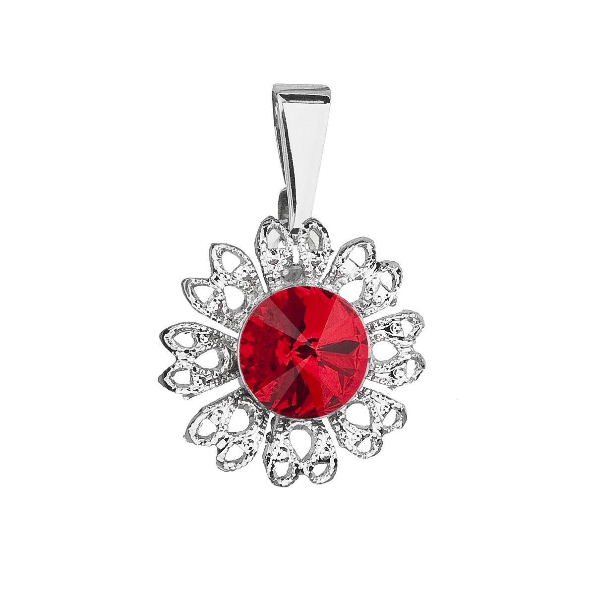 Evolution Group Přívěsek se Swarovski krystaly červená kytička 54032.3 light siam