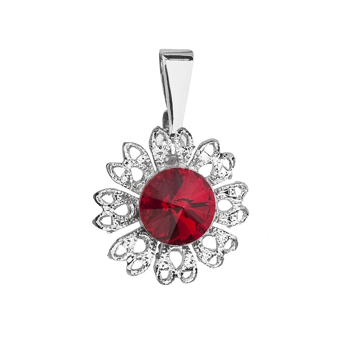Evolution Group Přívěsek se Swarovski krystaly červená kytička 54032.3 siam