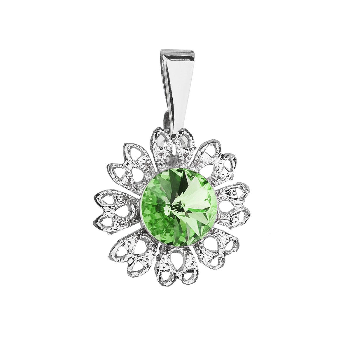Evolution Group Přívěsek se Swarovski krystaly zelená kytička 54032.3