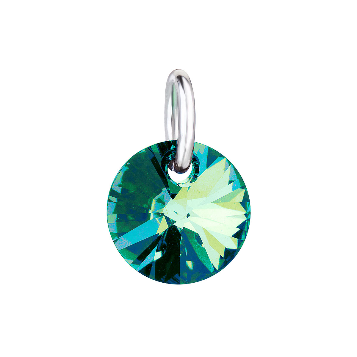 Levně Evolution Group Přívěsek bižuterie se Swarovski krystaly zelený kulatý 54040.5