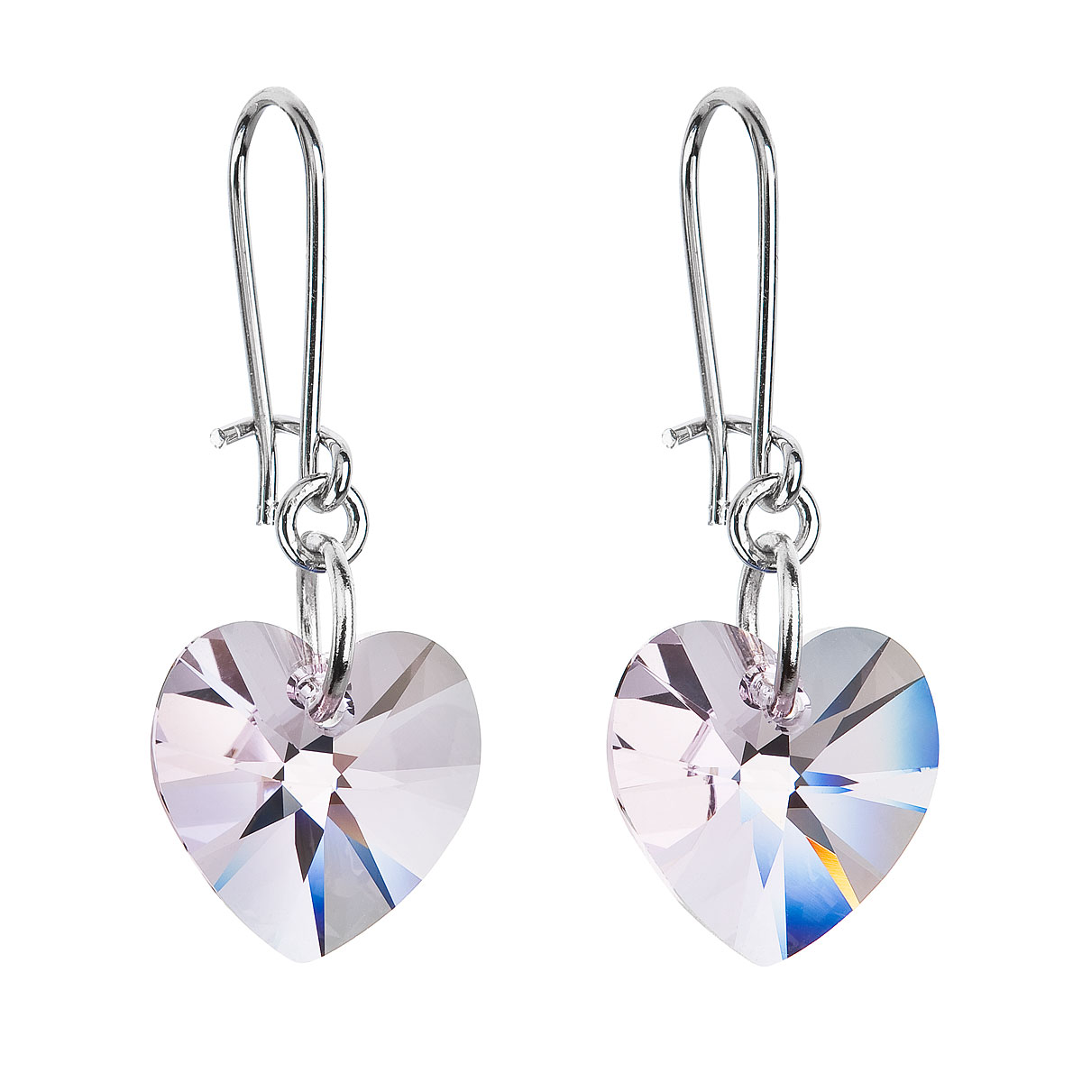 Náušnice se Swarovski krystaly růžová srdce 56001.3 rose