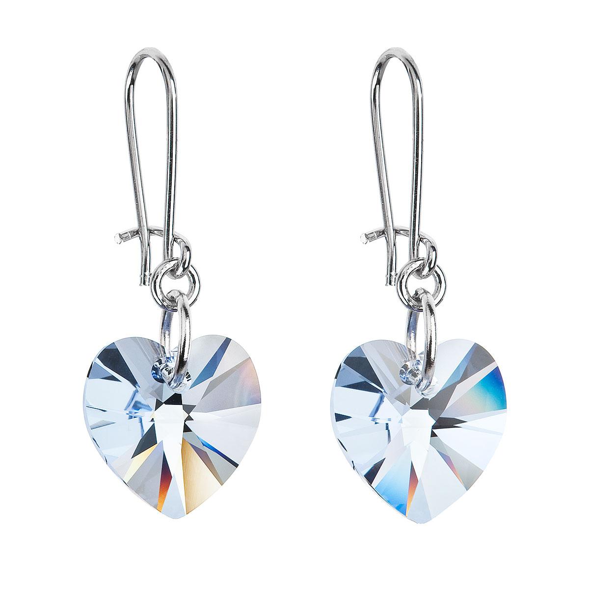 Náušnice se Swarovski krystaly modrá srdce 56001.3 aqua