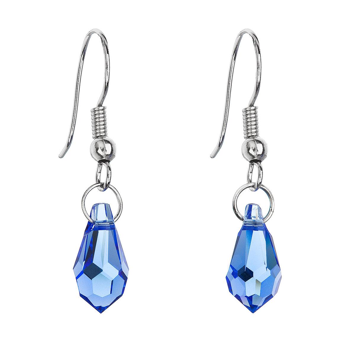 Náušnice se Swarovski krystaly modrá slza 56005.3 sapphire