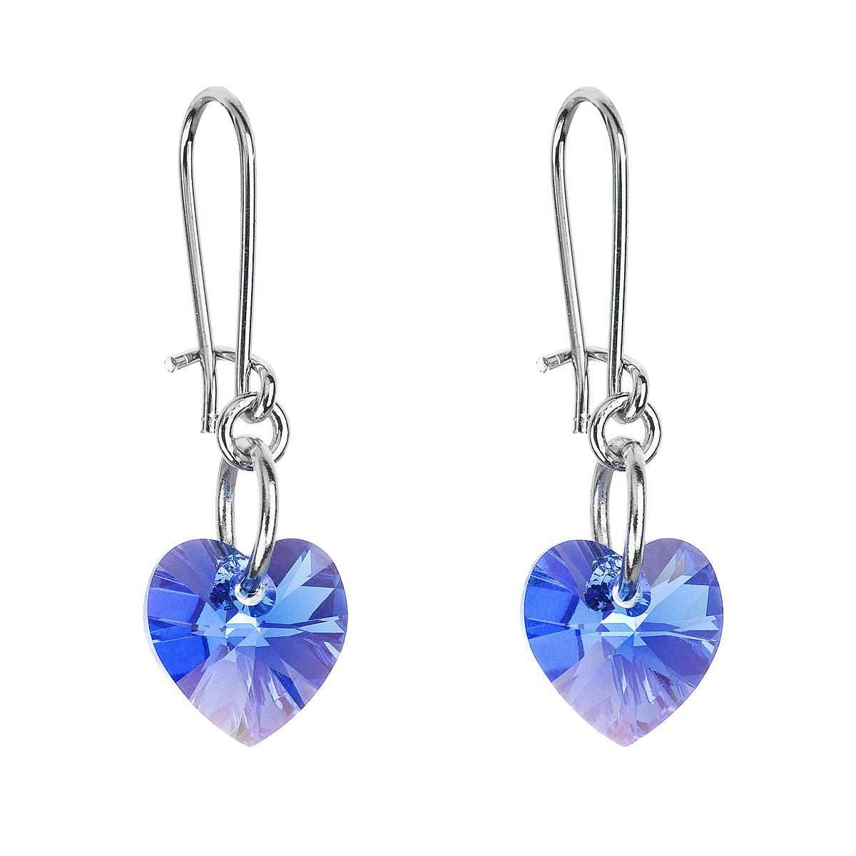 Náušnice se Swarovski krystaly modrá srdce 56006.3 sapphire
