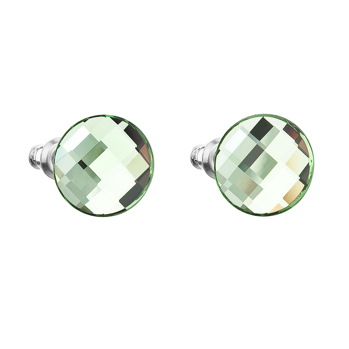 Náušnice bižuterie se Swarovski krystaly zelené kulaté 56009.3