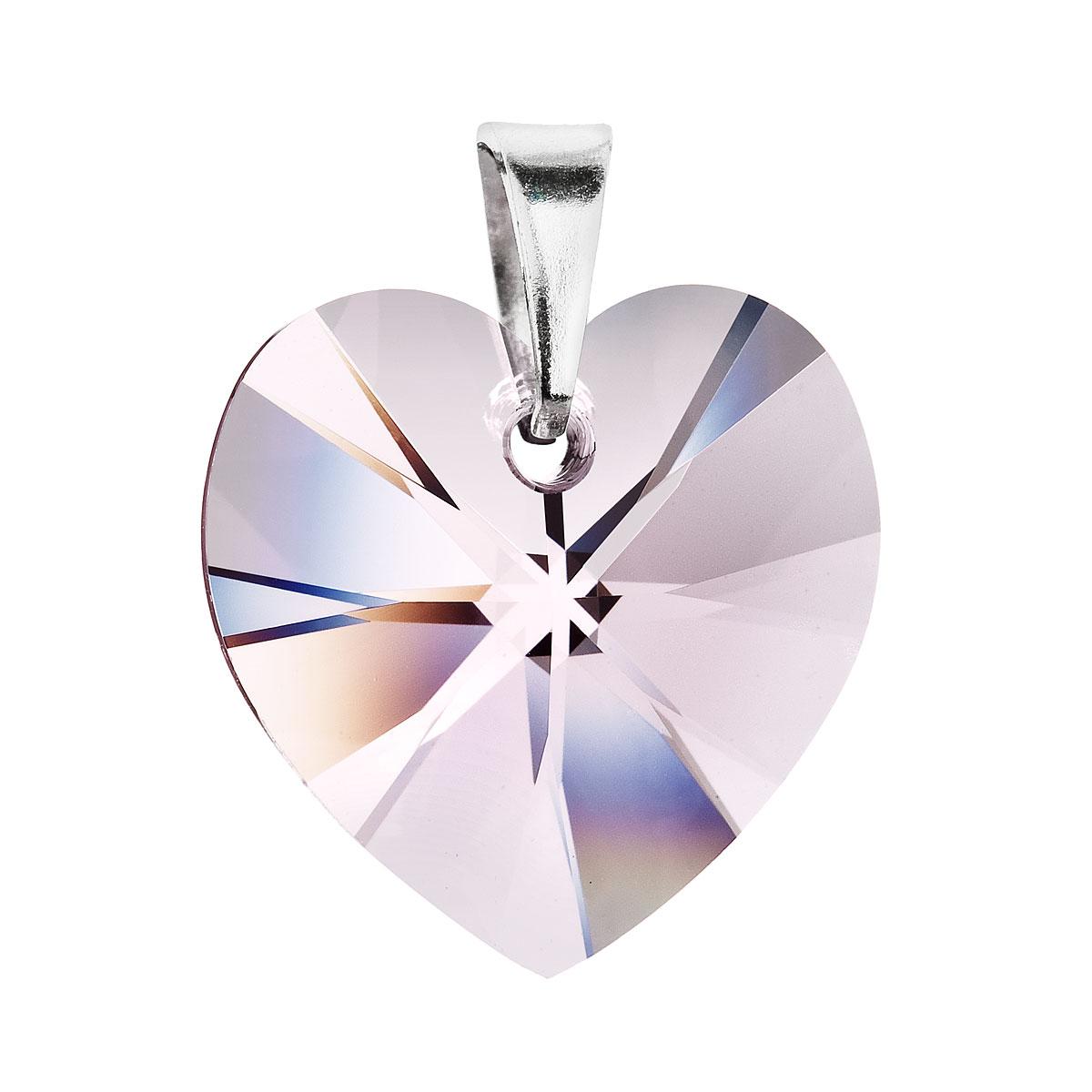 Přívěsek bižuterie se Swarovski krystaly růžové srdce 56011.3