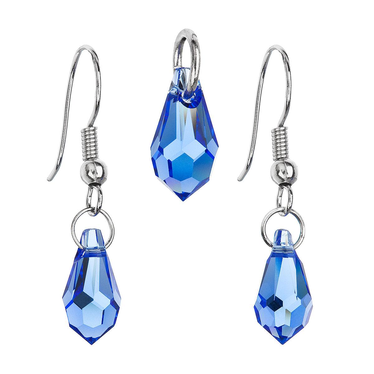 Souprava bižuterie se Swarovski krystaly modrá slza 56013.3