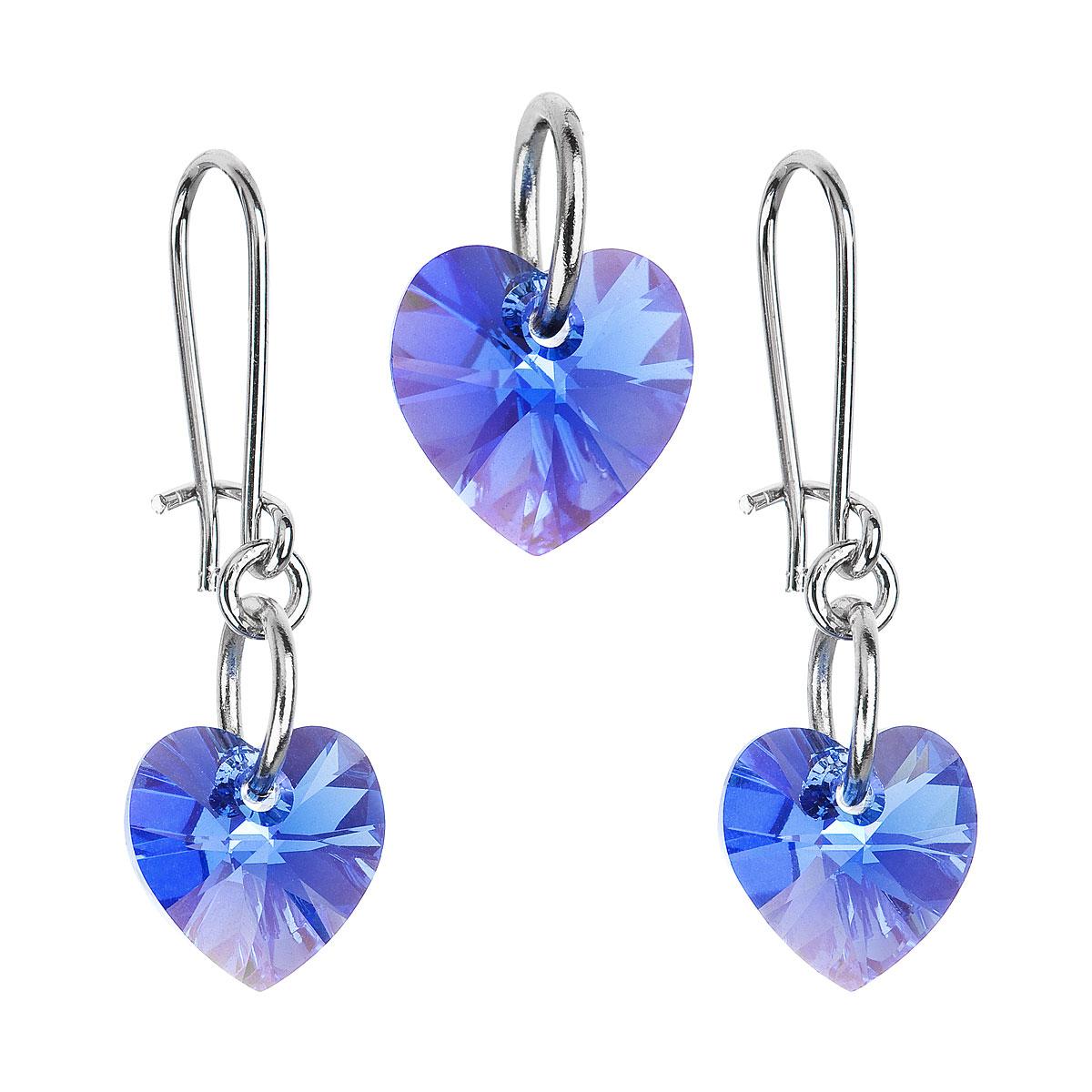 Souprava bižuterie se Swarovski krystaly modré srdce 56014.3