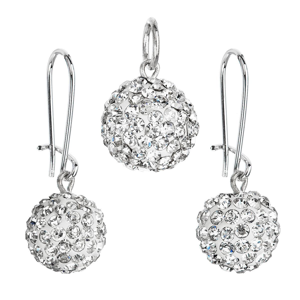 Souprava bižuterie se Swarovski krystaly bílá kulatá 56015.1