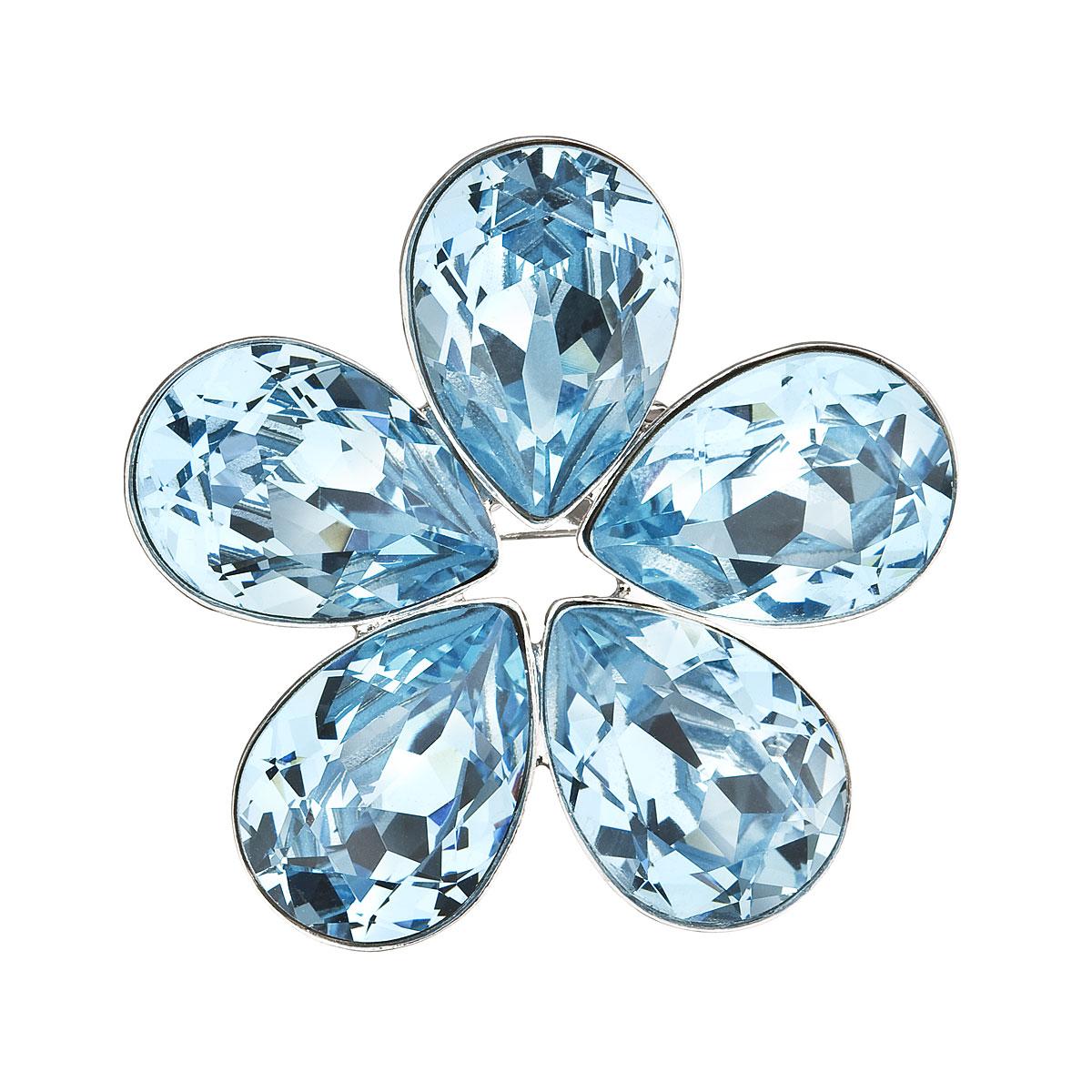 Brož bižuterie se Swarovski krystaly modrá kytička 58003.3 aqua