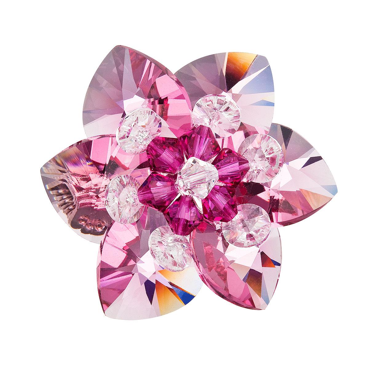 Brož bižuterie se Swarovski krystaly růžová kytička 78002.3