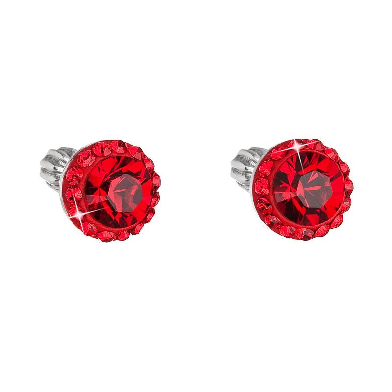 Evolution Group Stříbrné náušnice pecka s krystaly Swarovski červené kulaté 71008.3, dárkové balení