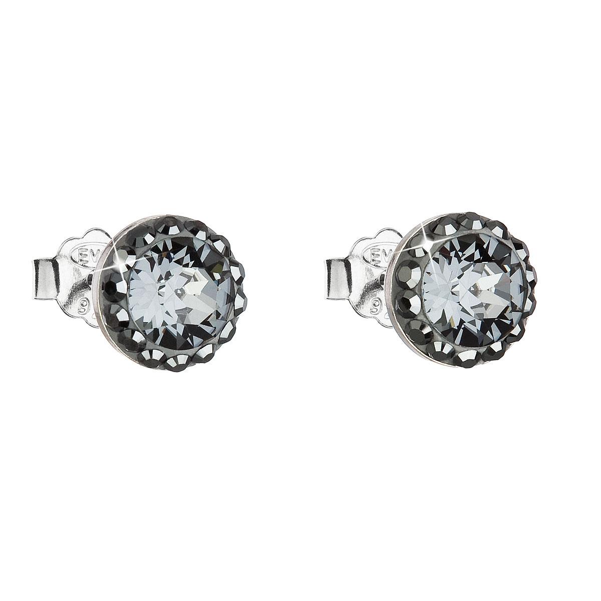 Evolution Group Stříbrné náušnice pecka s krystaly Swarovski černé kulaté 71008.3, dárkové balení