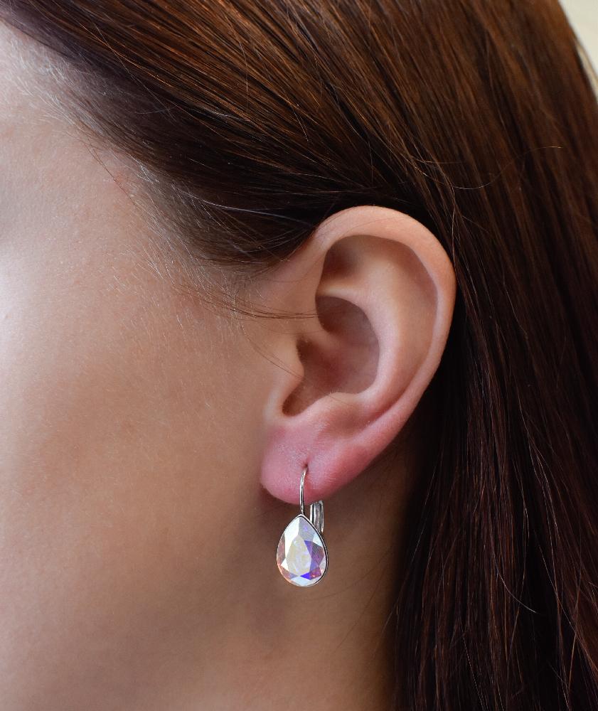 Sada šperků s krystaly Swarovski náušnice a přívěsek AB efekt slza 79021