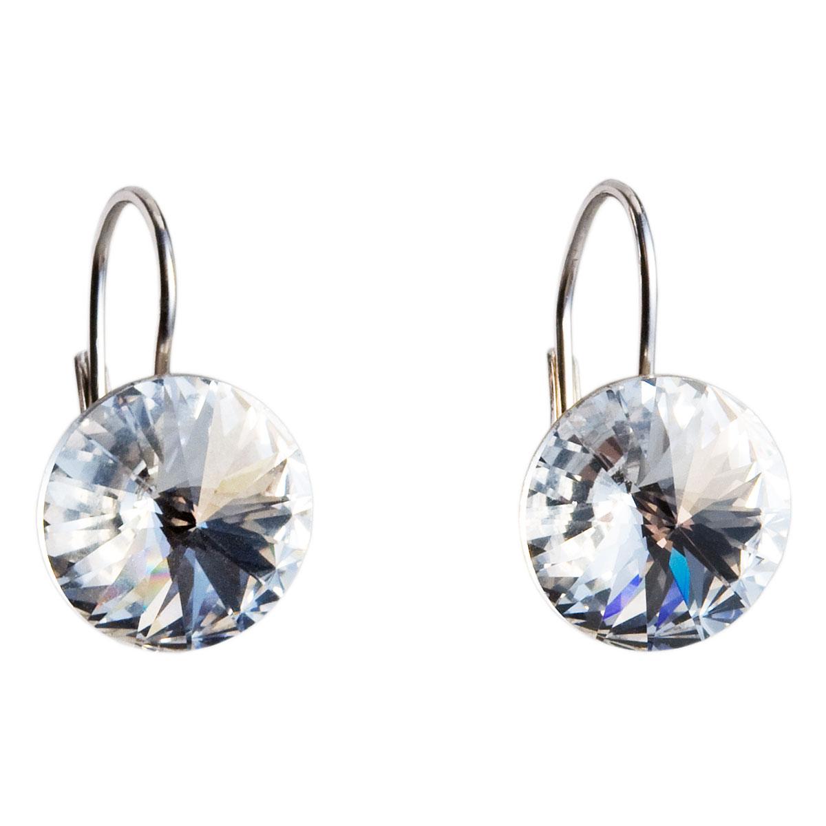 Stříbrné náušnice visací s krystaly bílé kulaté 731106.1
