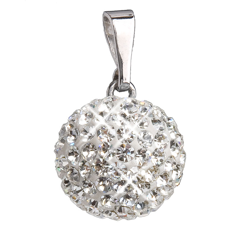 Stříbrný přívěsek s krystaly bílý kulatý 734080.1