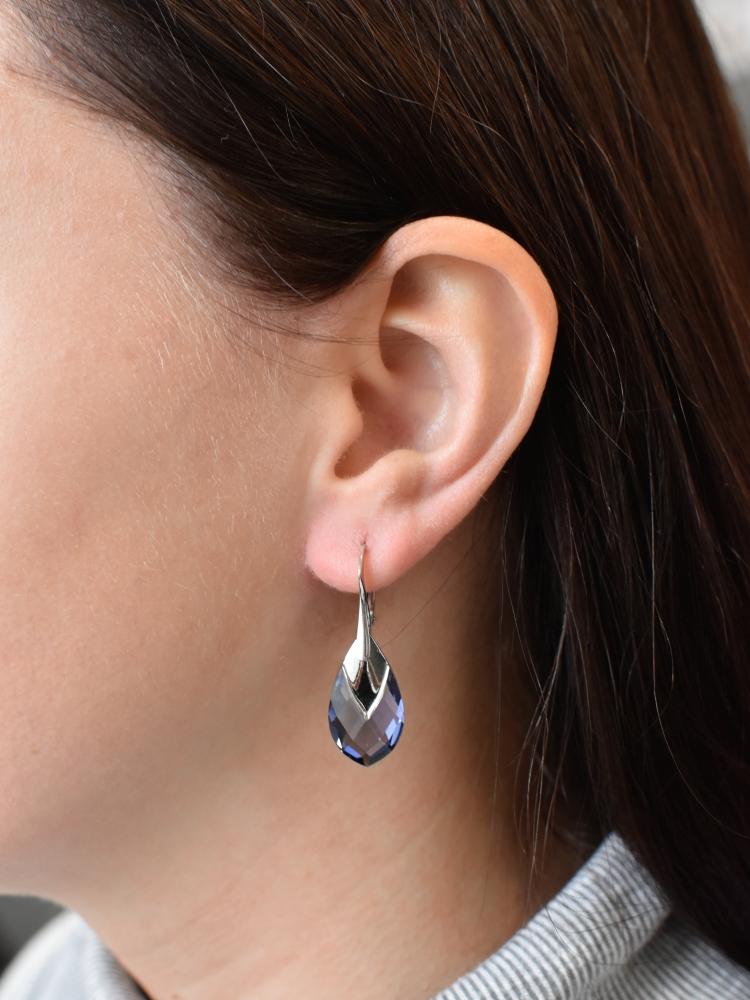 Sada šperků s krystaly Swarovski náušnice a přívěsek fialová kapka 79023.3