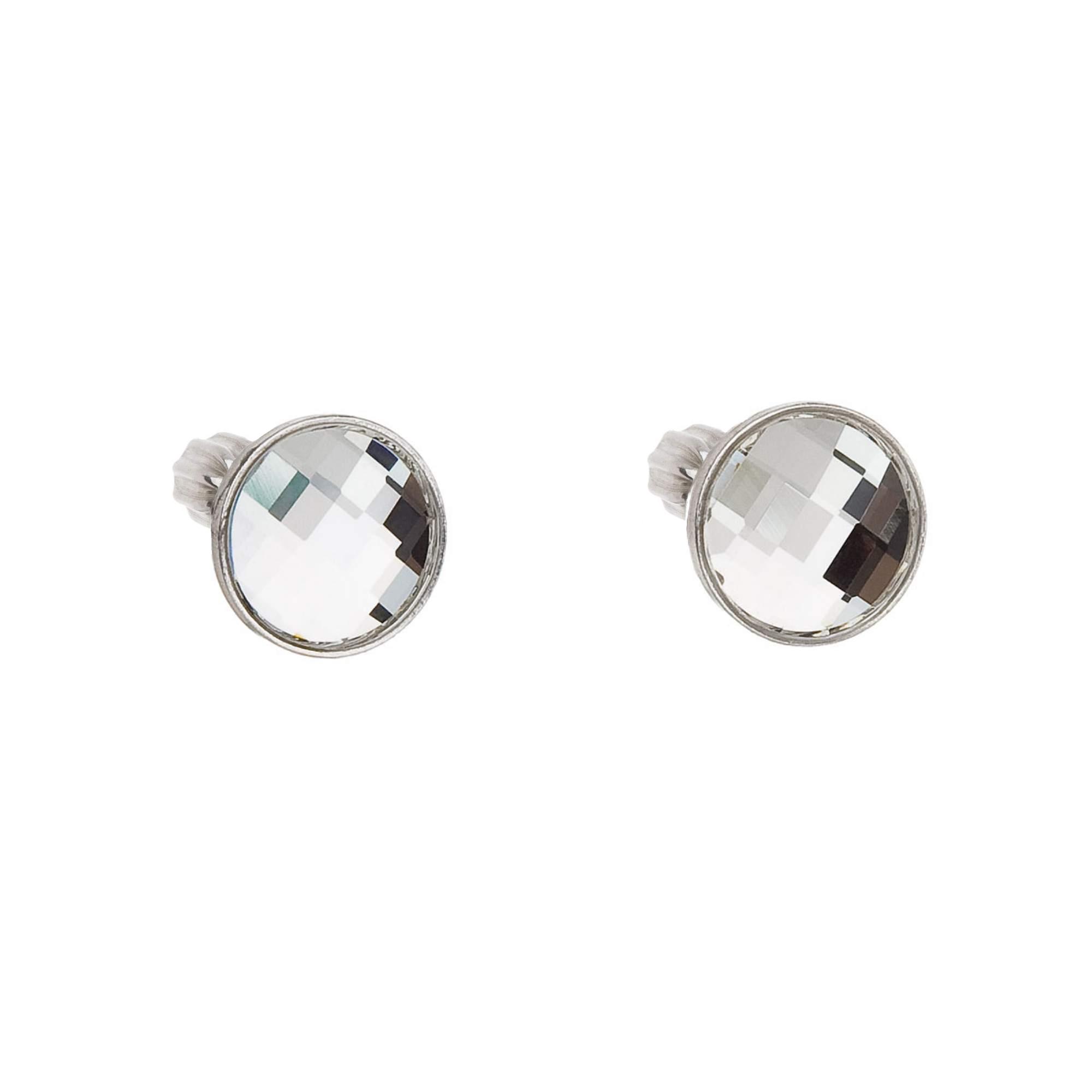 Evolution Group Stříbrné náušnice pecky s krystalem Swarovski bílé 71066.1 crystal