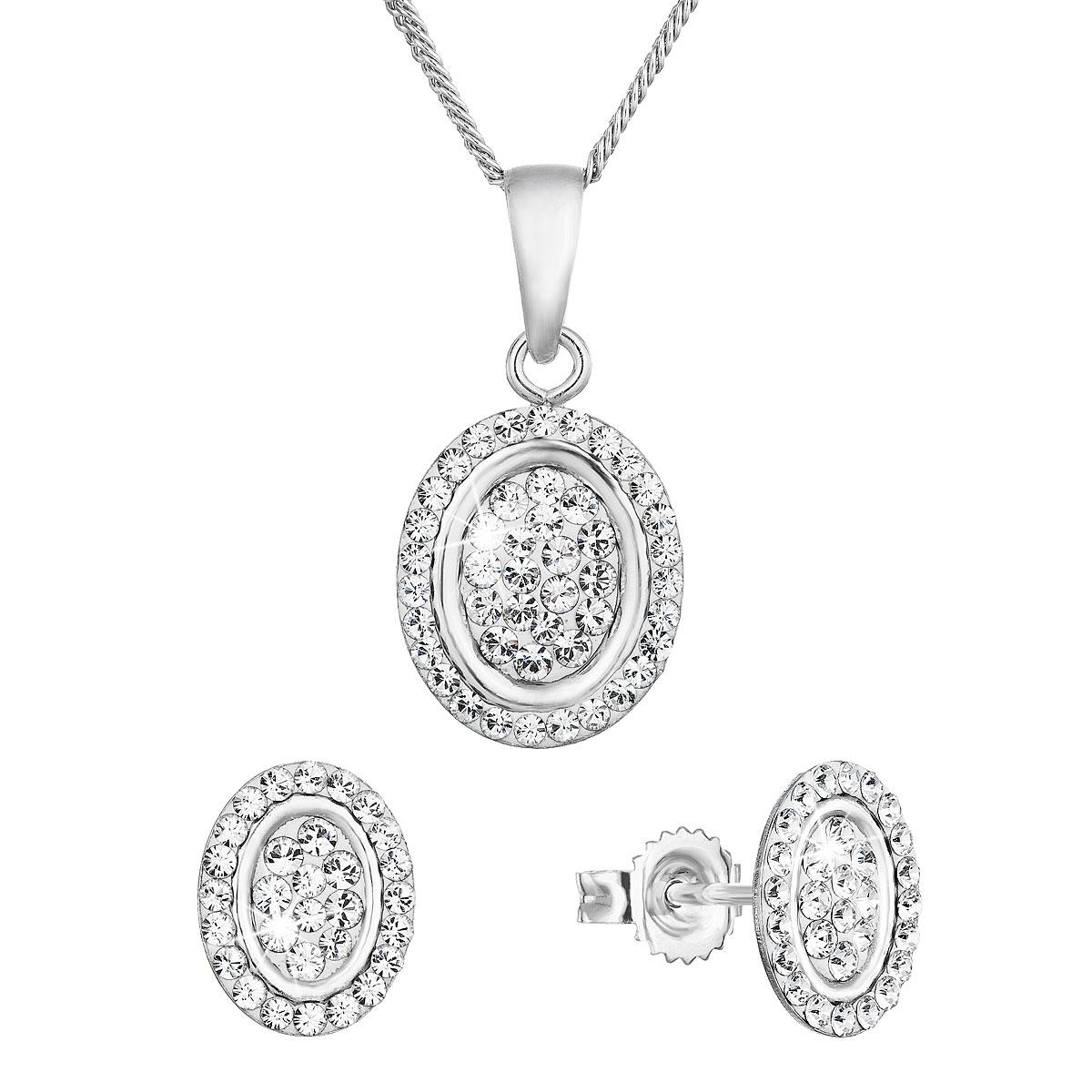 Evolution Group Sada šperků s krystaly Swarovski náušnice a přívěsek bílé oválné 79036.1